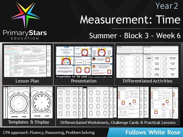 YEAR 2 - Time : Measurement- White Rose - WEEK 6 - Block 3 - Summer- Differentiated Pack
