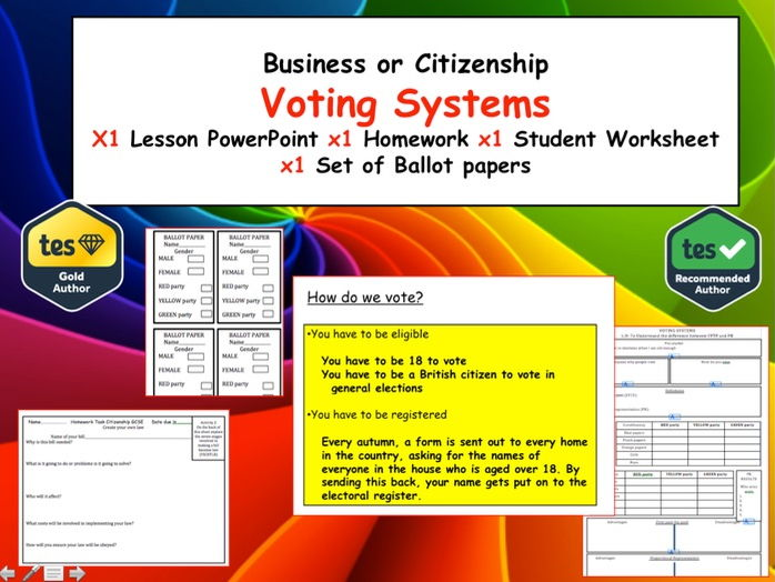 Different Voting Systems - Full Lesson of Activities and a Homework KS3