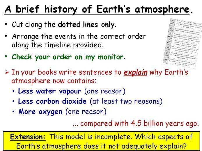 GCSE Chemistry Earth's Atmosphere full lesson (Edexcel 9-1 SC21a SC21b CC17a CC17b)
