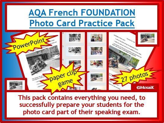 AQA French GCSE photo card FOUNDATION