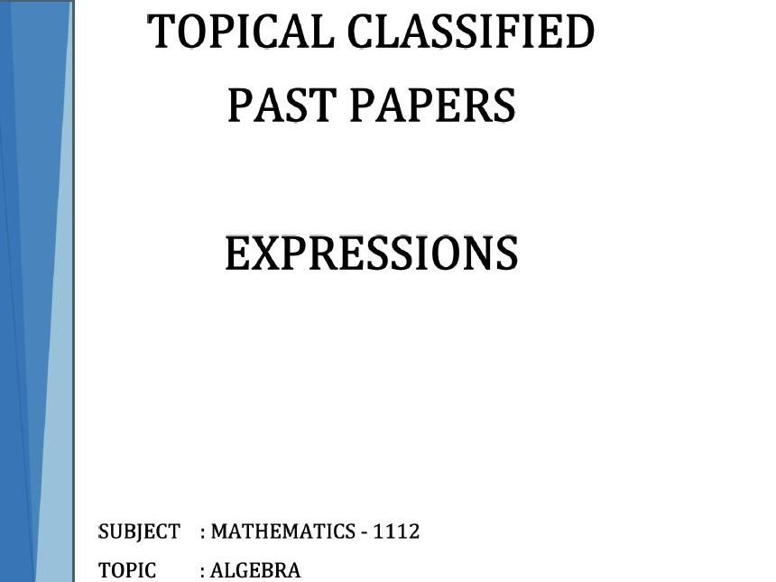 Cambridge Lower Secondary Checkpoint Topical Classified Past Papers-Mathematics-ALGEBRA