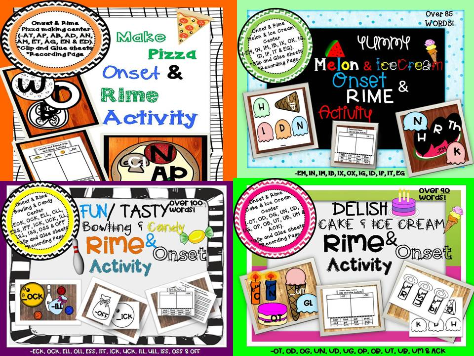 Onset & Rimes Bundle Activity Over 400 Words| Hands On Activities