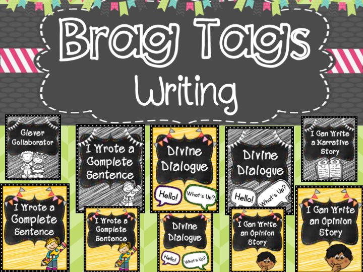 Writing Brag Tags (color version)