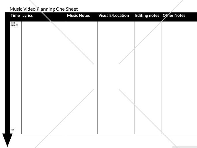 *Free Music Video Planning One Sheet Resource