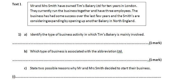 OCR Applied Business - Business in action - Past Paper styled Assesment