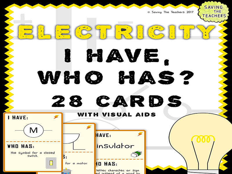 Electricity: I Have, Who Has? Game Cards Activity