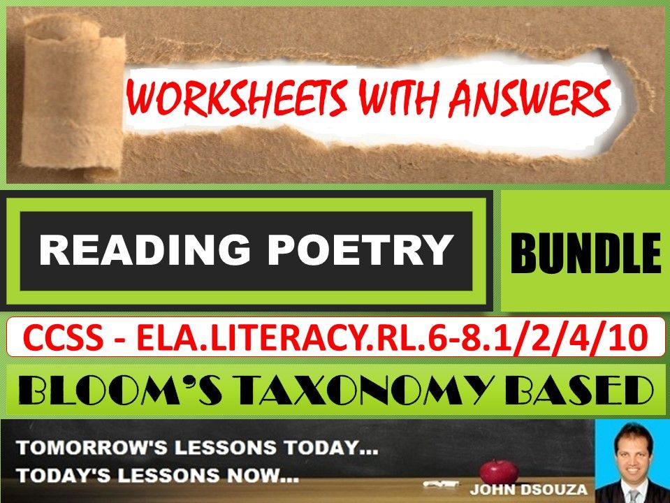 READING POETRY: BLOOM'S TAXONOMY BASED WORKSHEETS WITH ANSWERS - BUNDLE