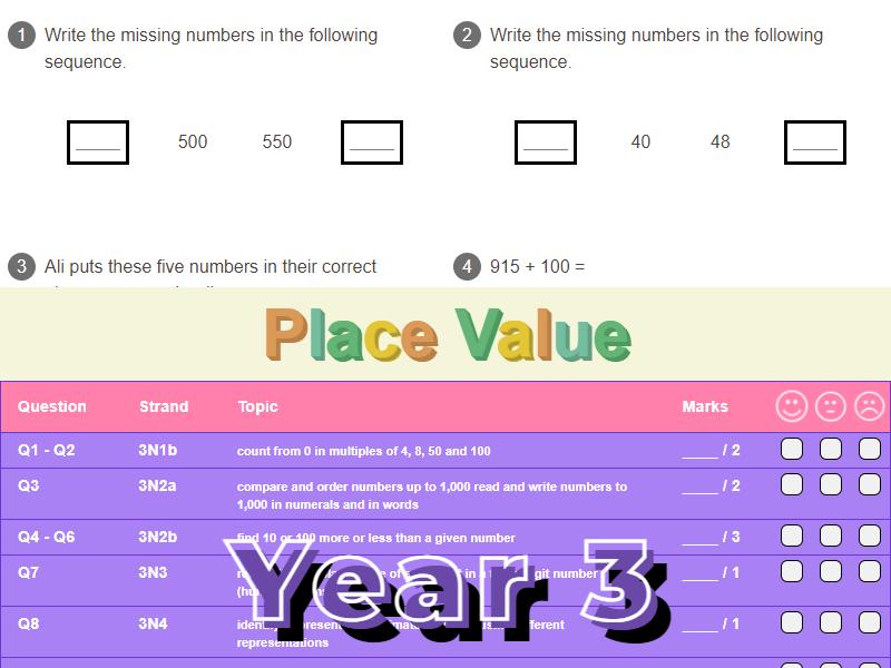 Place Value Worksheet + Answers (KS2 - Year 3)