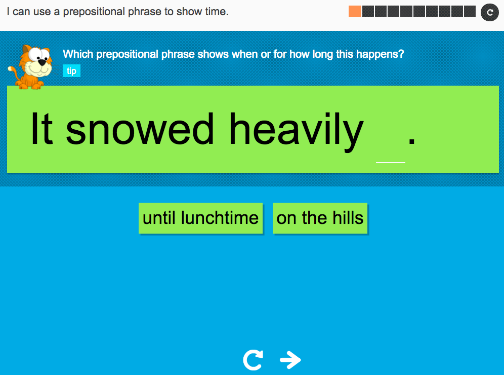 I can use a prepositional phrase to show time - Interactive Activity - Year 3 Spag