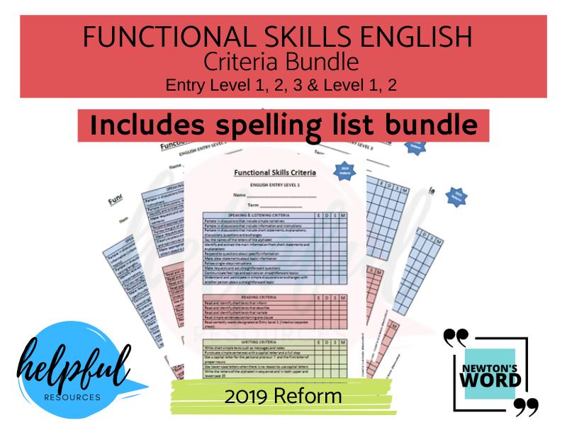 Functional Skills English Criteria Bundle E1, E2, E3, L1, L2 - Includes New Spellings