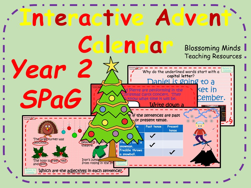 Year 2 Interactive SPaG Advent Calendar