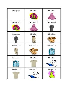 Kleidung (Clothing in German) Ich habe Wer hat