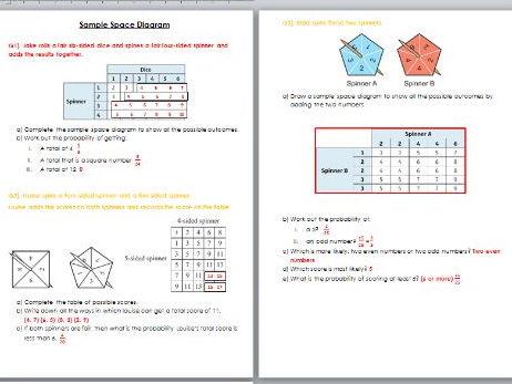 Sample Space diagram worksheet with SOLUTIONS - Edexcel