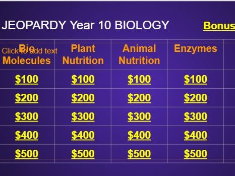 Jeopardy Game for Year 10 Biology with 5 topics