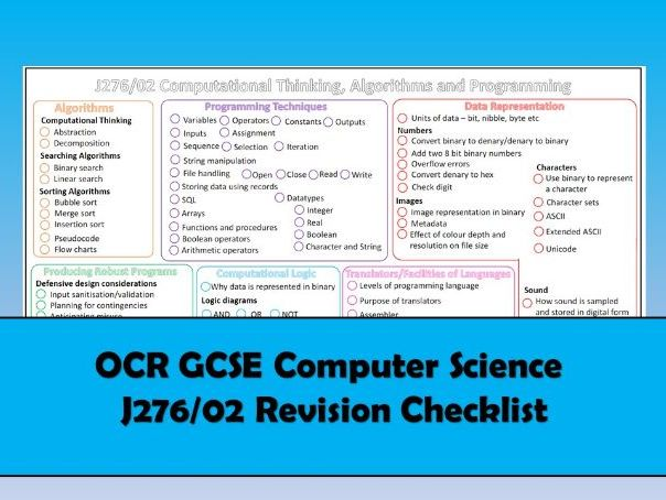 OCR Computer Science J276/02 Revision Checklist