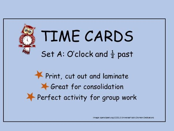 Time Cards: Matching digital and written form: o'clock and 1/2 past