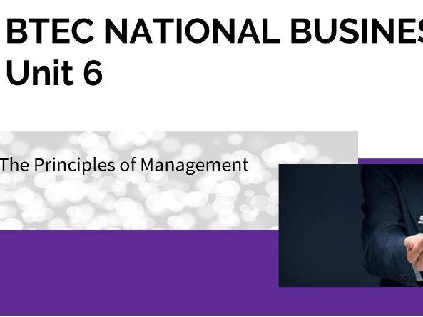 BTEC Nationals  (new spec)  UNIT 6 Principles of Management - Entire Unit Powerpoint