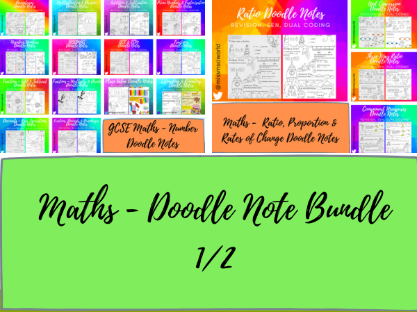 Maths GCSE Foundation Doodle Notes Bundle 1/2