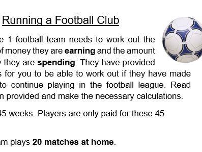 Maths - Running a Football Club