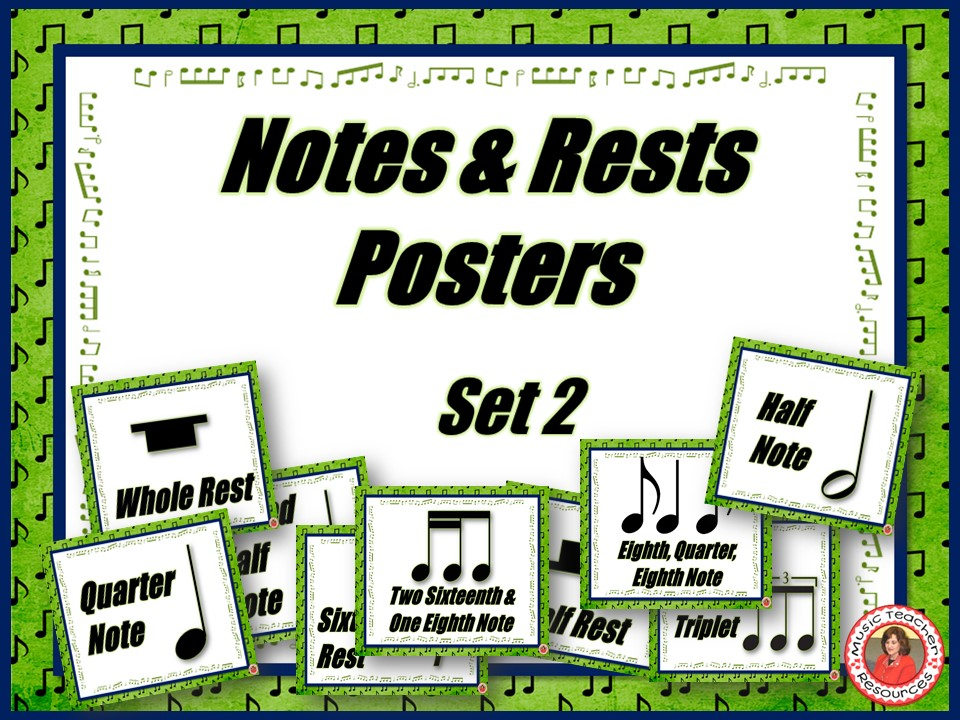 Music Classroom Decor Set: Notes and Rests Posters Set 2