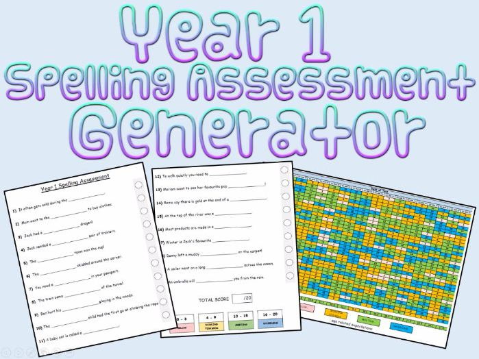 Year 1:  Spelling Assessments and Tracking (Generator)