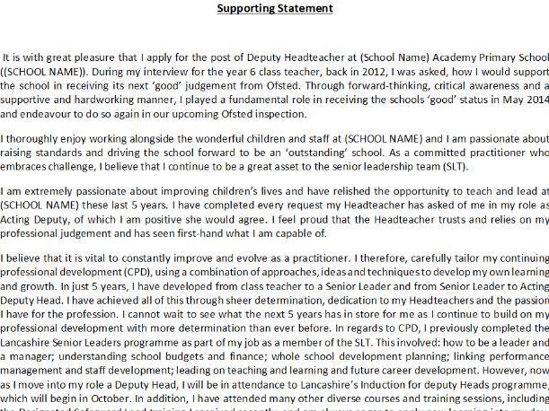 Successful Deputy Head Teacher/ Senior Leader Application