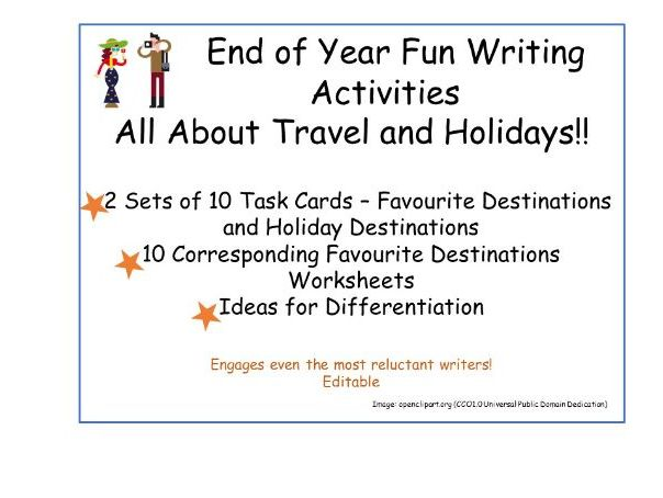 End of Year Fun Writing all about Travel