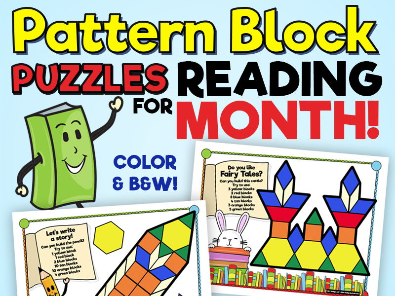 Pattern Block Puzzles • Math Shape Puzzles • Caught Reading Month Theme