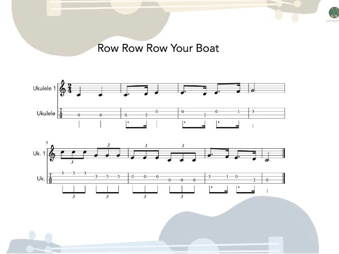 Ukulele Group - Row Row Row Your Boat sheet music and teaching resources