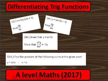 A Level Maths (2017) Differentiation: Trig Functions