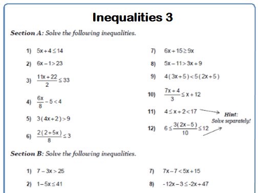 Solving Inequalities 9-1 GCSE Maths Worksheets and Answers