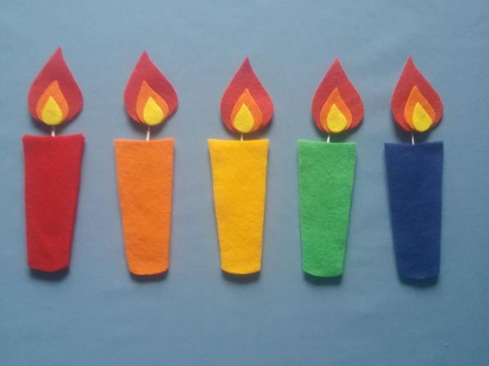 Five Birthday Candles Felt Board Set Digital Pattern