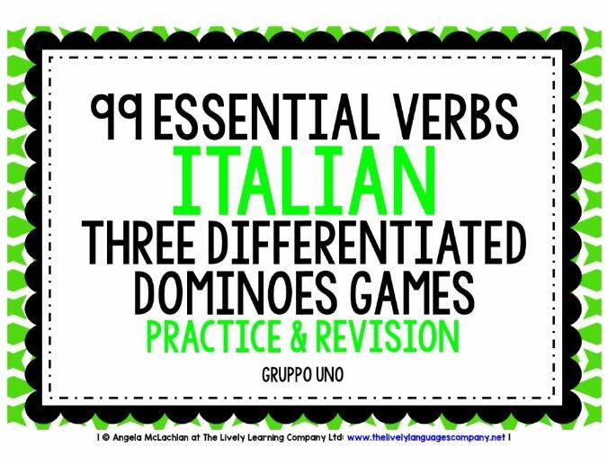 ITALIAN VERBS DOMINOES GAMES
