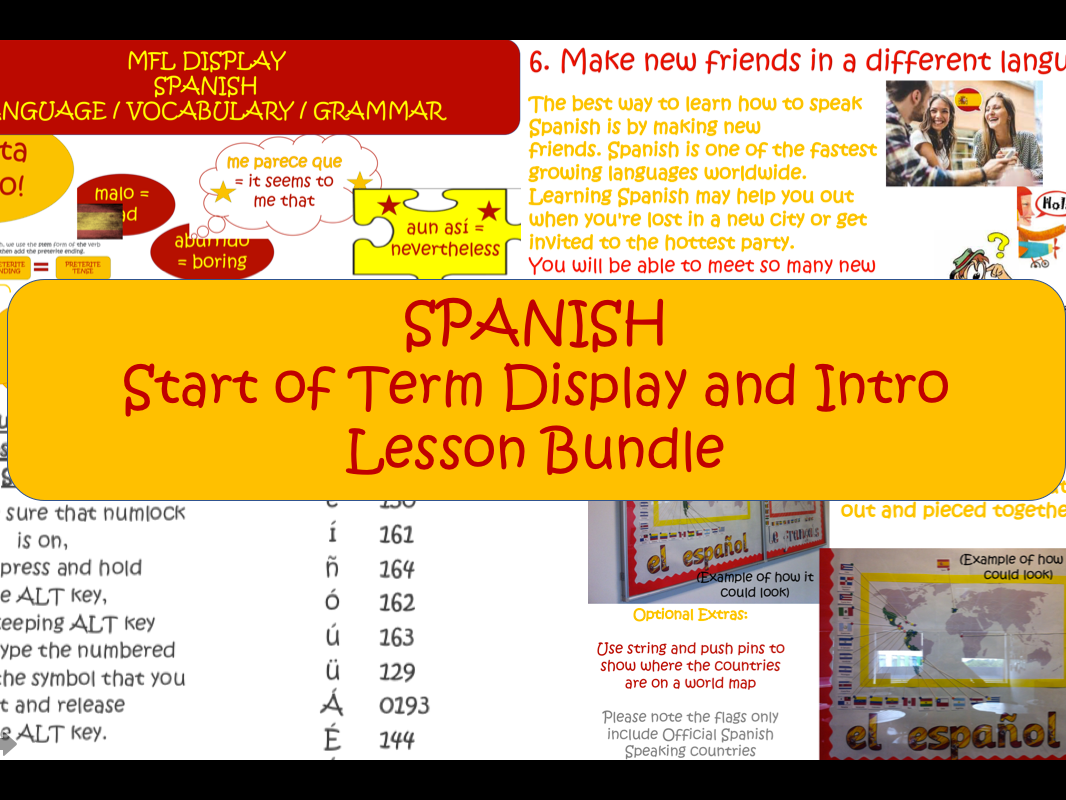 SPANISH Start of Term Display and Intro Lesson Bundle