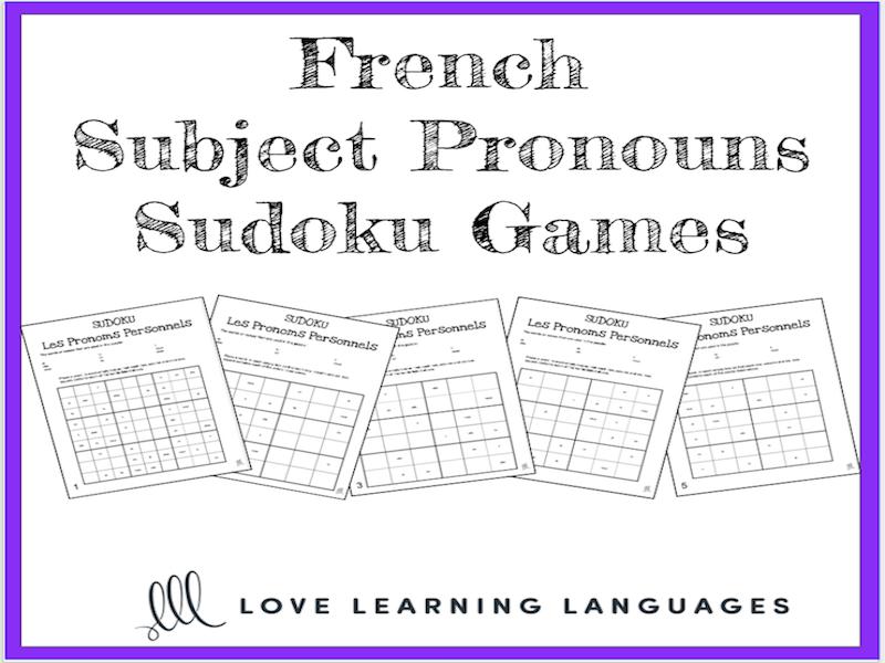 french subject pronouns sudoku games