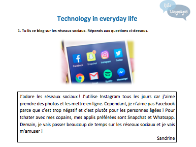 French Key Stage 3 - Technology - New GCSE-style activities