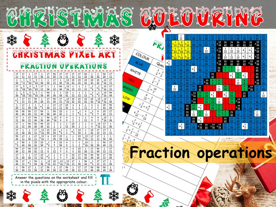 Christmas maths GCSE revision on fraction operations