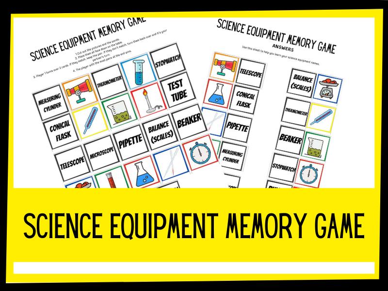 Science equipment memory game -  KS1 KS2 Primary science