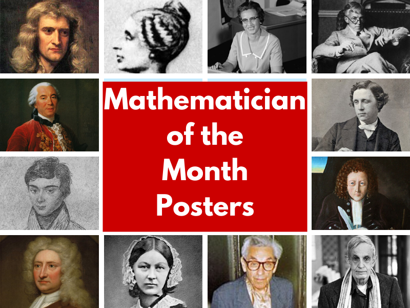 Mathematician of the Month Posters - 12 double A3 posters