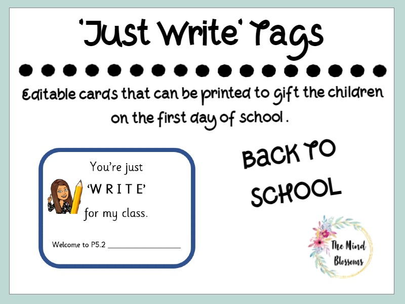 First Day of School Gift Card Just Write
