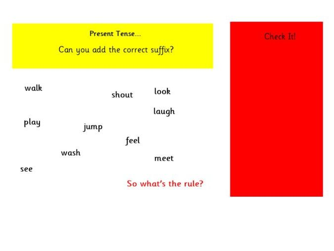 An IWB to support teaching when adding the suffixes -ing and -ed to verbs where no change is needed