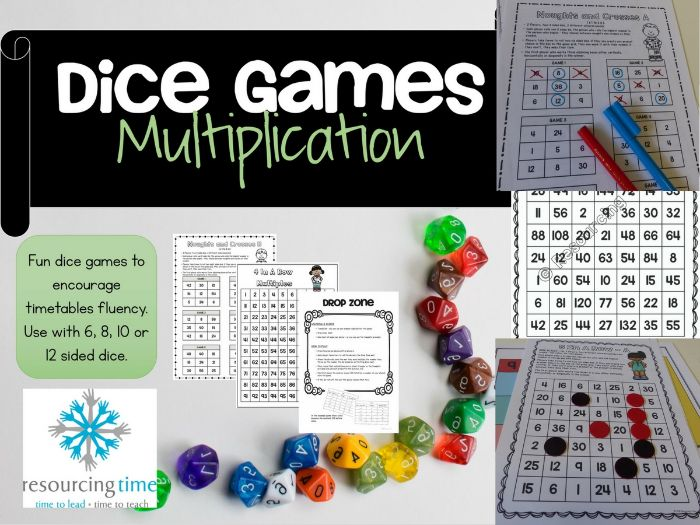 Dice Maths Games - Multiplication