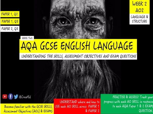New GCSE English Language Skills TEACHING UNIT, AO2 Language & Structure: Paper 1 &  Paper 2 Qu