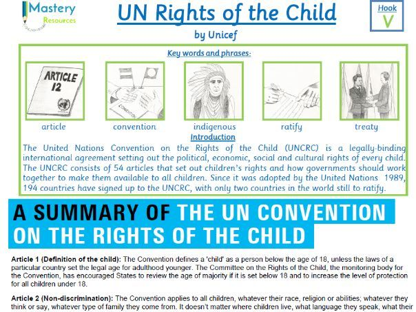 UN Rights of a Child by UNESCO Comprehension KS2