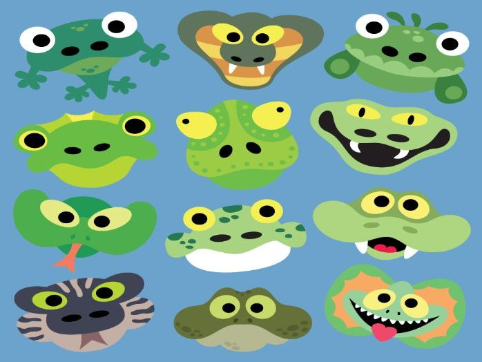 Printable Snakes & Lizards Masks