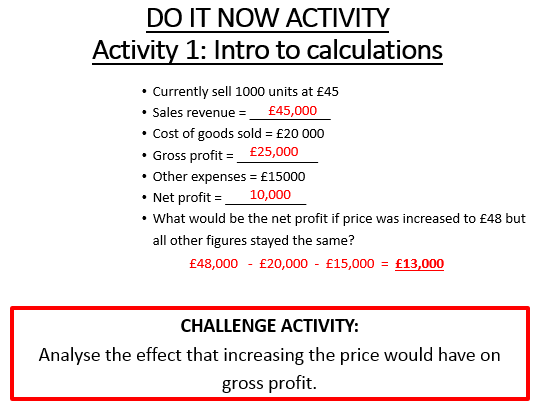 Profit and Loss Statement / Statement of Comprehensive Income: Complete differentiated lesson (GCSE)