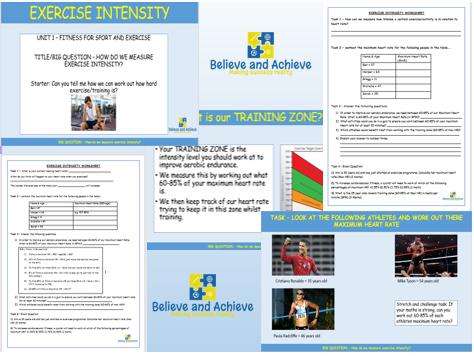 Exercise Intensity - BTEC Sport level 2 Unit 1 (2018)