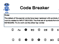 Computer Science Code Breaker Keyword Starter Tasks - CPU, Input Devices, Databases