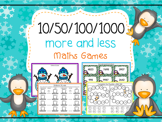 10/50/100/1000 More and Less Maths Games