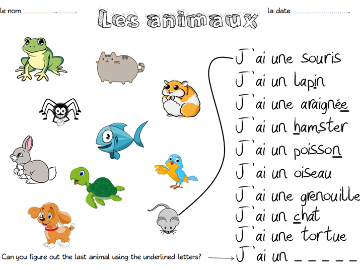 Les Animaux Match Up Worksheet